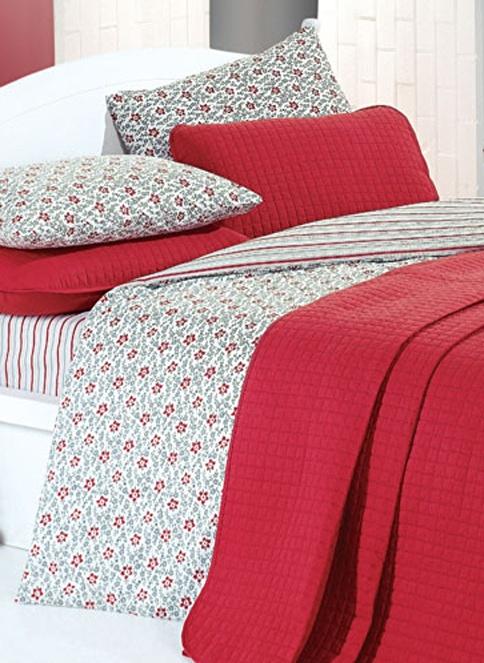 Kupon Home Çift Kişilik Yatak Örtüsü Kırmızı